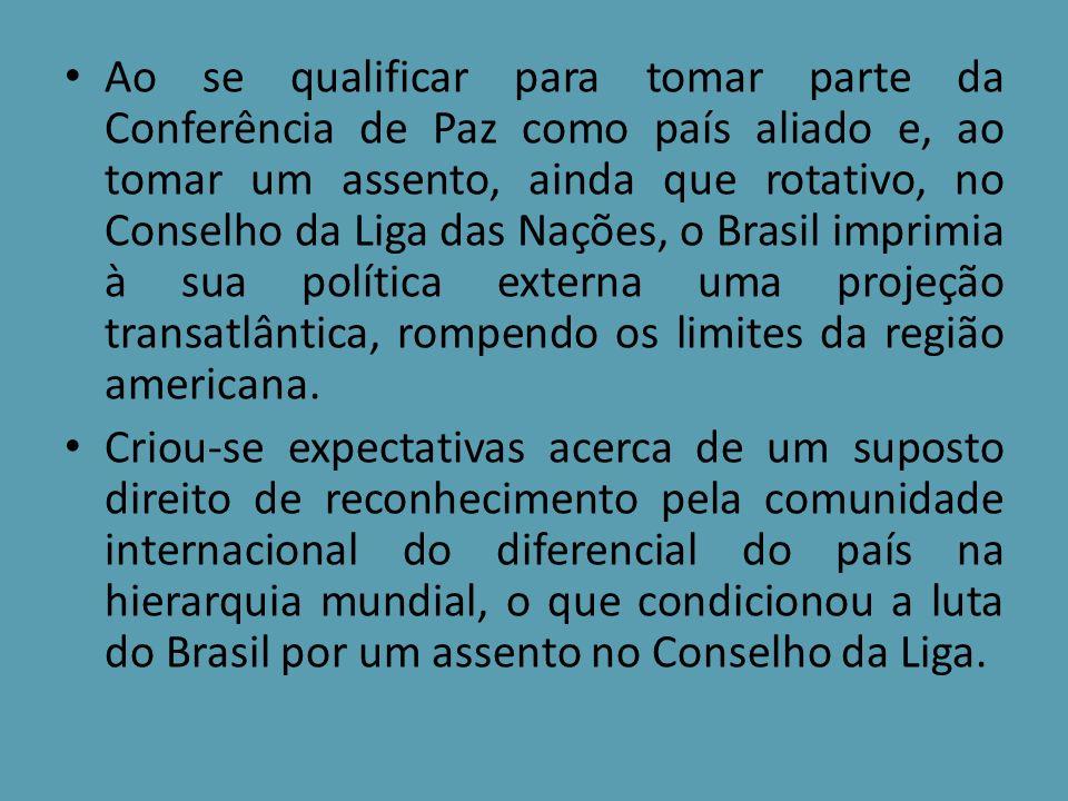 Ao se qualificar para tomar parte da Conferência de Paz como país aliado e, ao tomar um assento, ainda que rotativo, no Conselho da Liga das Nações, o
