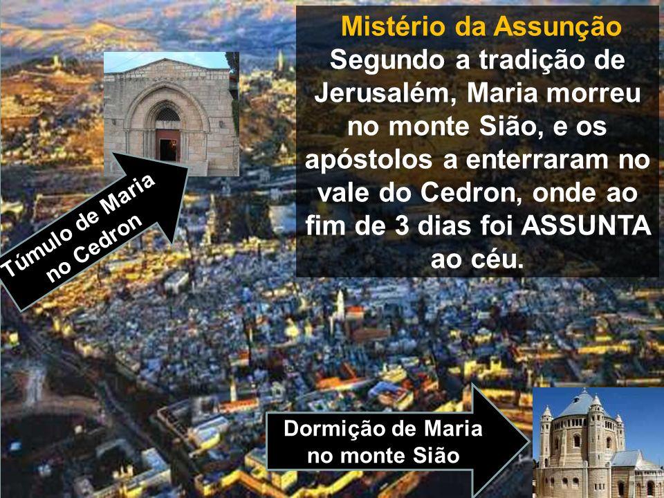 Mistério da Assunção Segundo a tradição de Jerusalém, Maria morreu no monte Sião, e os apóstolos a enterraram no vale do Cedron, onde ao fim de 3 dias foi ASSUNTA ao céu.