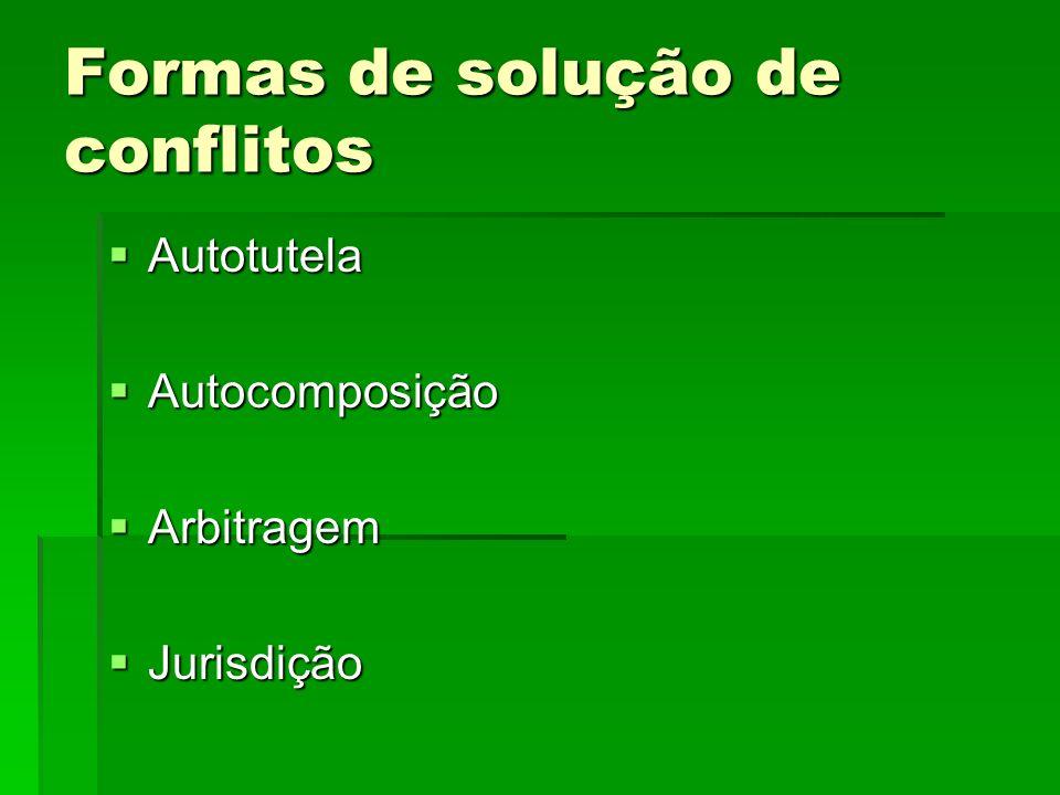 Formas de solução de conflitos Autotutela Autotutela Autocomposição Autocomposição Arbitragem Arbitragem Jurisdição Jurisdição