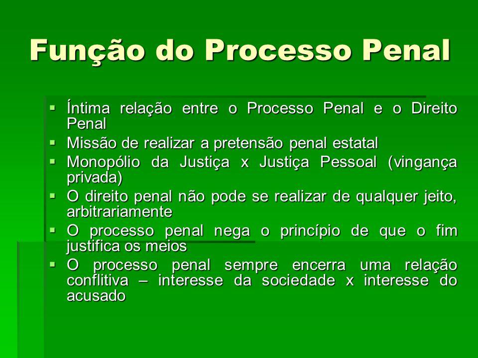 Função do Processo Penal Íntima relação entre o Processo Penal e o Direito Penal Íntima relação entre o Processo Penal e o Direito Penal Missão de rea