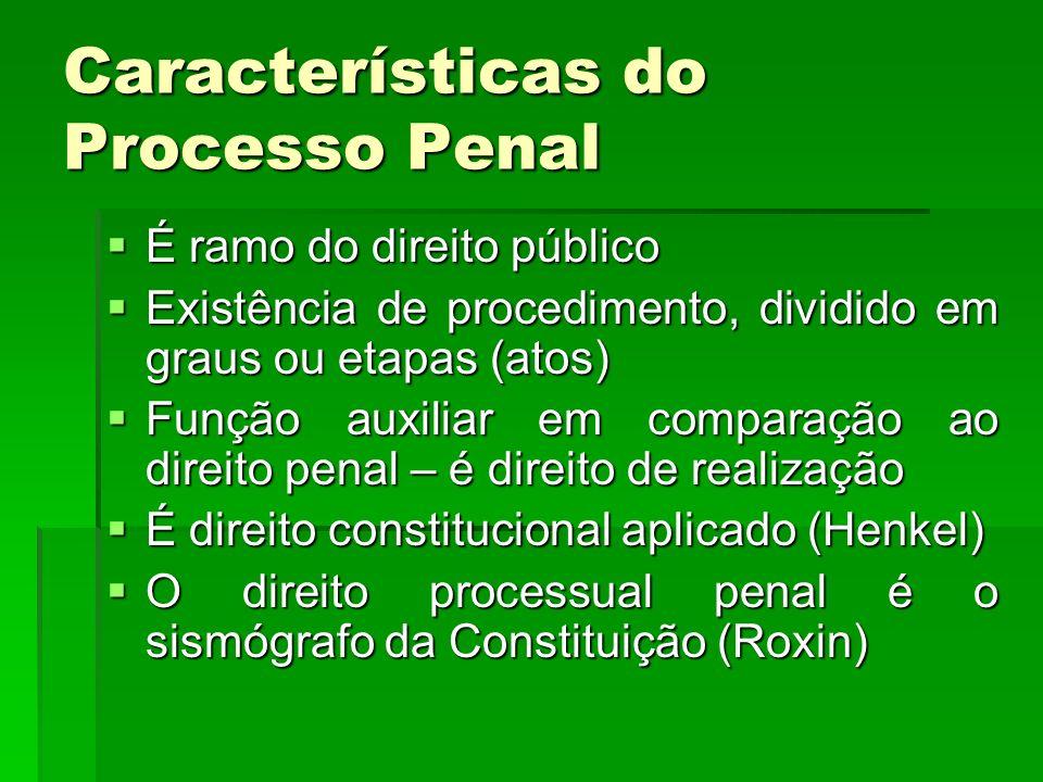 Características do Processo Penal É ramo do direito público É ramo do direito público Existência de procedimento, dividido em graus ou etapas (atos) E