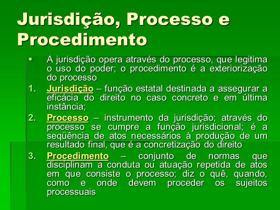 Jurisdição, Processo e Procedimento A jurisdição opera através do processo, que legitima o uso do poder; o procedimento é a exteriorização do processo