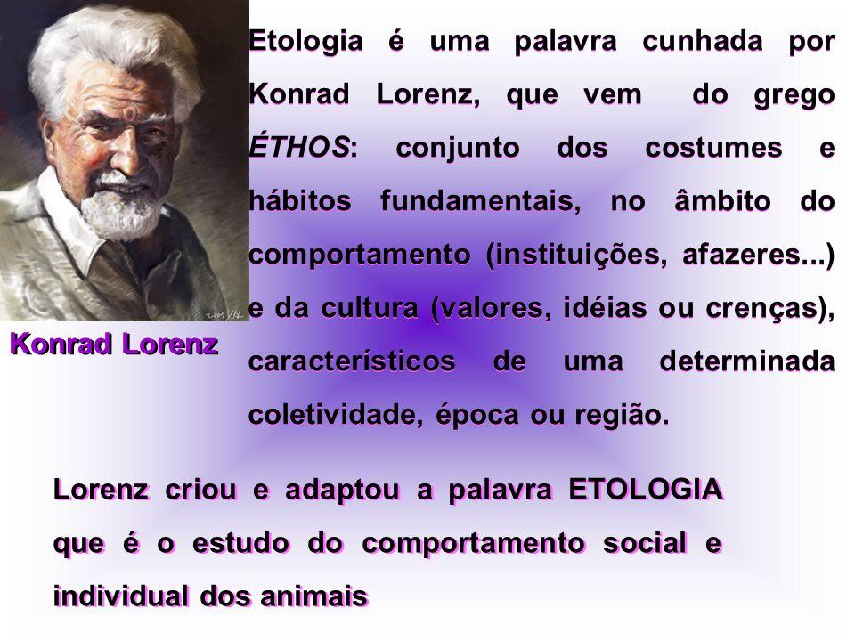 Konrad Lorenz Etologia é uma palavra cunhada por Konrad Lorenz, que vem do grego ÉTHOS: conjunto dos costumes e hábitos fundamentais, no âmbito do com