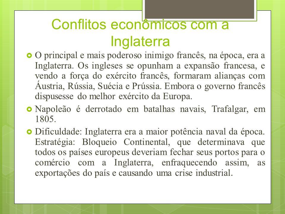 Conflitos e crise Portugal: dependente do comércio com a Inglaterra.
