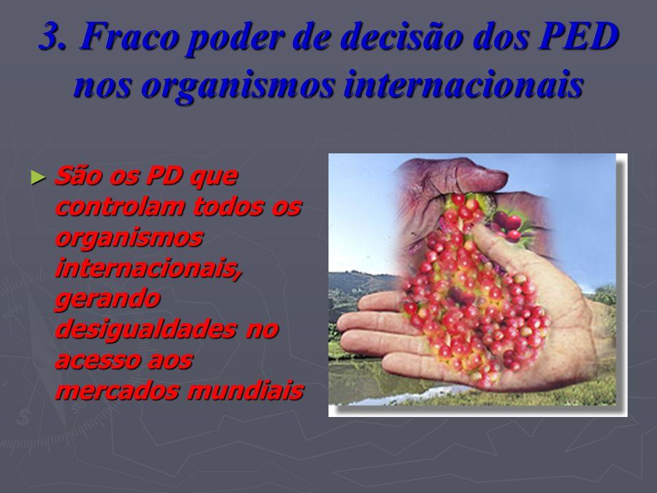 3. Fraco poder de decisão dos PED nos organismos internacionais São os PD que controlam todos os organismos internacionais, gerando desigualdades no a