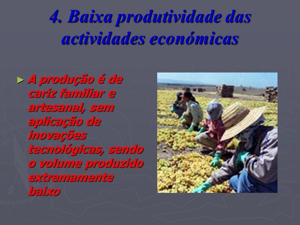 4. Baixa produtividade das actividades económicas A produção é de cariz familiar e artesanal, sem aplicação de inovações tecnológicas, sendo o volume