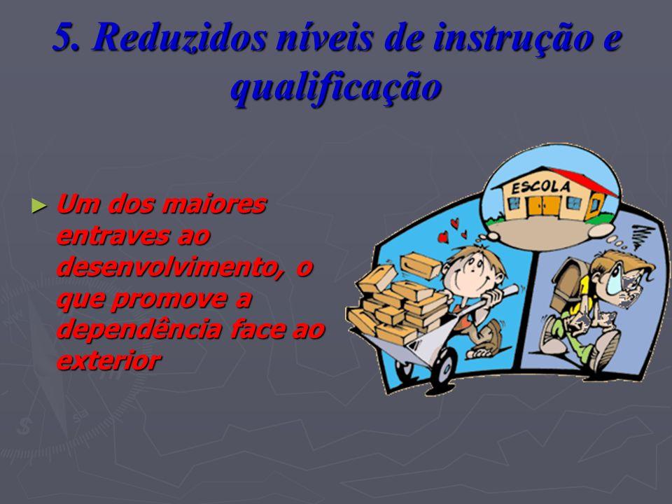 5. Reduzidos níveis de instrução e qualificação Um dos maiores entraves ao desenvolvimento, o que promove a dependência face ao exterior