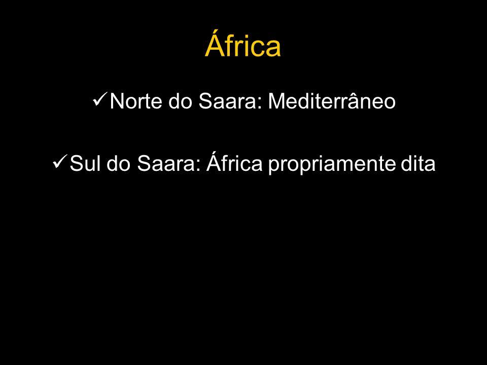 África Norte do Saara: Mediterrâneo Sul do Saara: África propriamente dita
