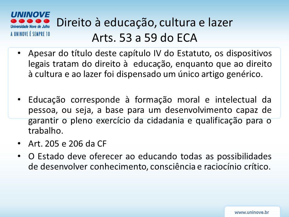 Apesar do título deste capítulo IV do Estatuto, os dispositivos legais tratam do direito à educação, enquanto que ao direito à cultura e ao lazer foi