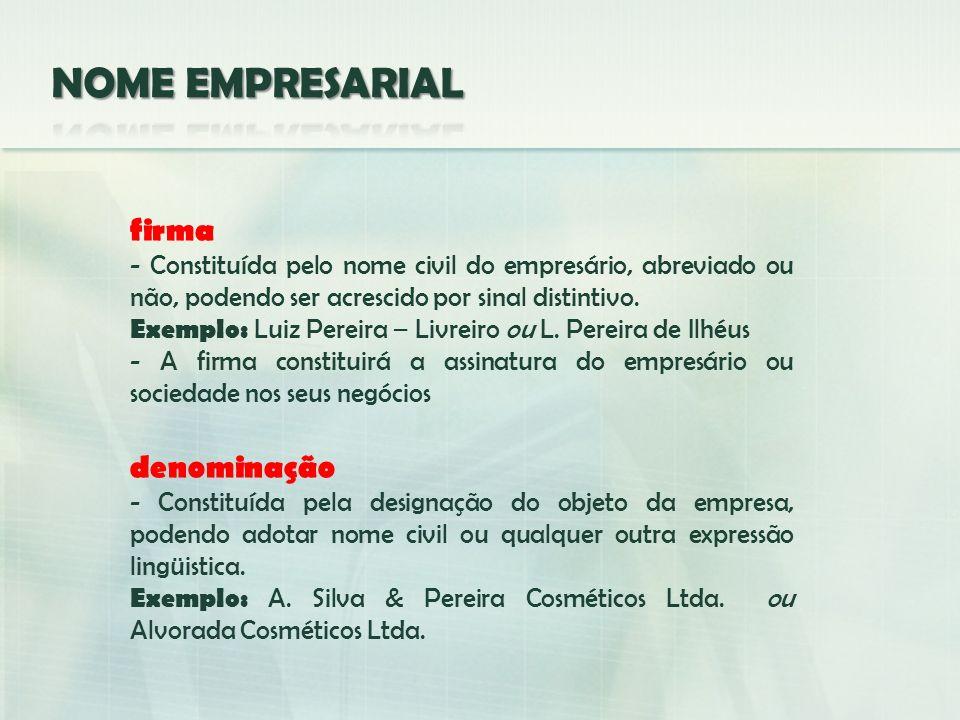 firma - Constituída pelo nome civil do empresário, abreviado ou não, podendo ser acrescido por sinal distintivo. Exemplo: Luiz Pereira – Livreiro ou L