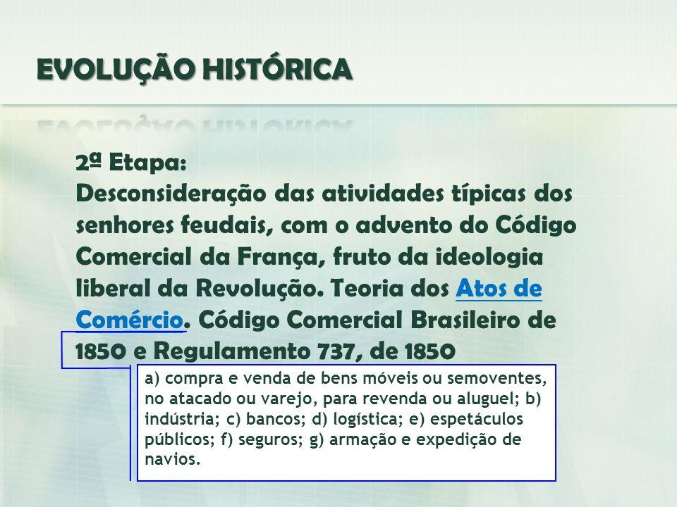 2ª Etapa: Desconsideração das atividades típicas dos senhores feudais, com o advento do Código Comercial da França, fruto da ideologia liberal da Revo