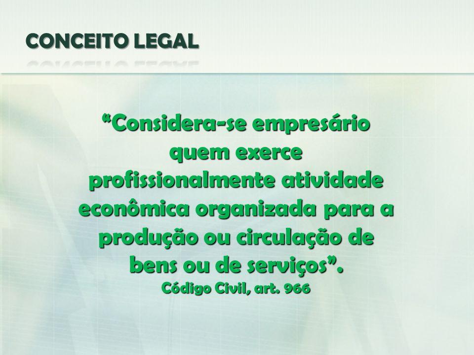 Considera-se empresário quem exerce profissionalmente atividade econômica organizada para a produção ou circulação de bens ou de serviços. Código Civi