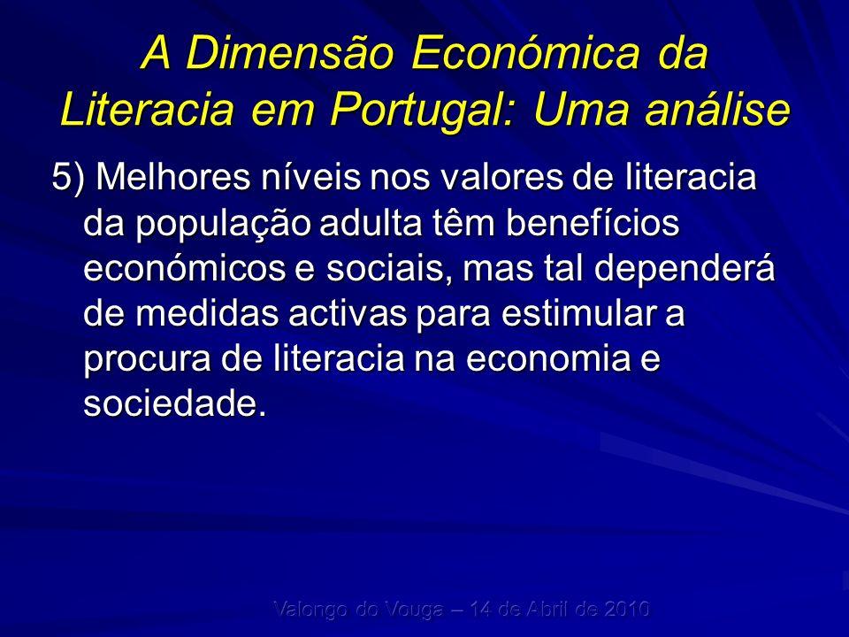 A Dimensão Económica da Literacia em Portugal: Uma análise 5) Melhores níveis nos valores de literacia da população adulta têm benefícios económicos e