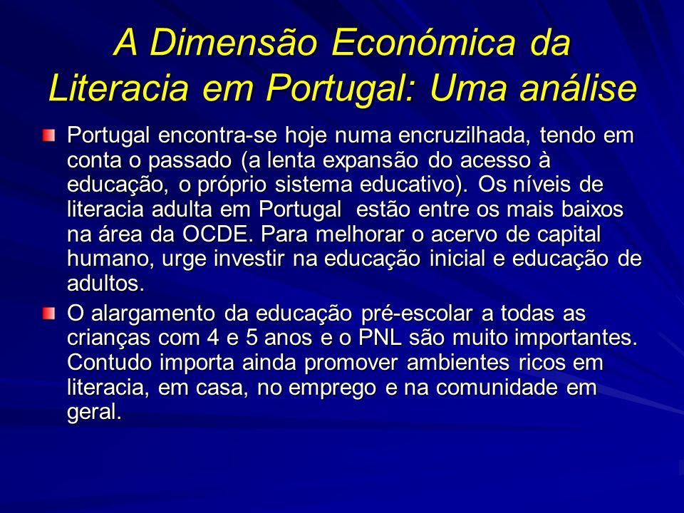 A Dimensão Económica da Literacia em Portugal: Uma análise Portugal encontra-se hoje numa encruzilhada, tendo em conta o passado (a lenta expansão do