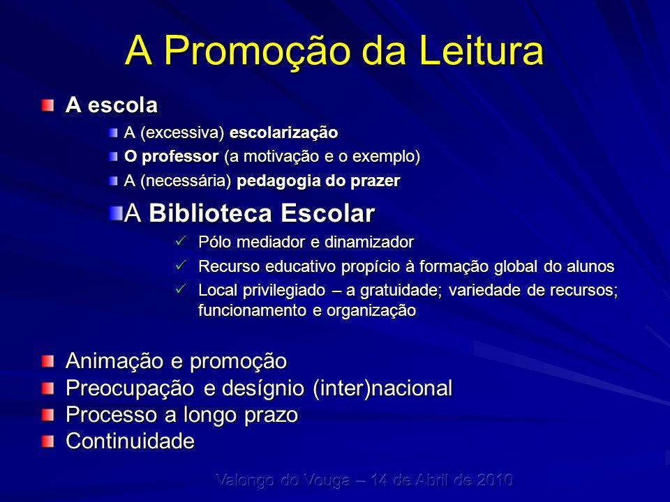 A Promoção da Leitura A escola A (excessiva) escolarização O professor (a motivação e o exemplo) A (necessária) pedagogia do prazer A Biblioteca Escol