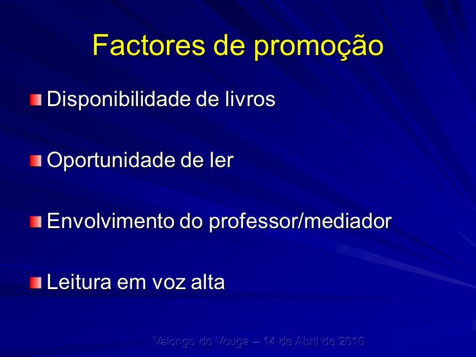 Factores de promoção Disponibilidade de livros Oportunidade de ler Envolvimento do professor/mediador Leitura em voz alta