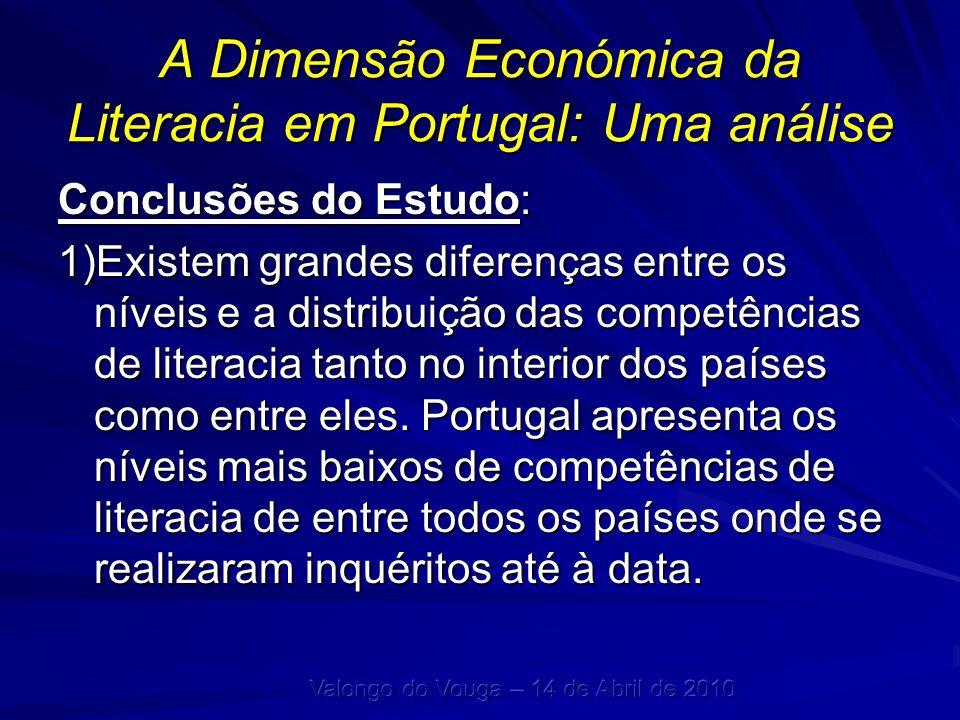A Dimensão Económica da Literacia em Portugal: Uma análise Conclusões do Estudo: 1)Existem grandes diferenças entre os níveis e a distribuição das com
