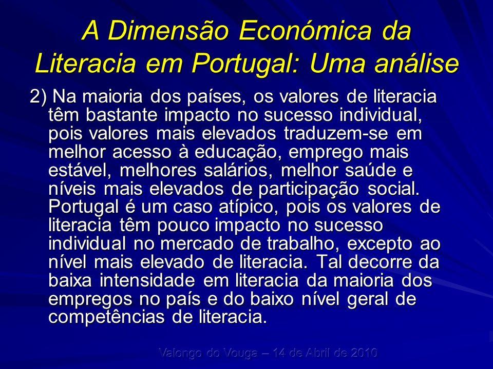 A Dimensão Económica da Literacia em Portugal: Uma análise 2) Na maioria dos países, os valores de literacia têm bastante impacto no sucesso individua