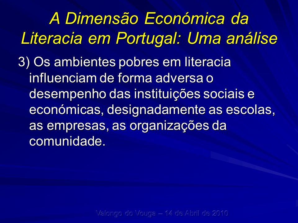 A Dimensão Económica da Literacia em Portugal: Uma análise 3) Os ambientes pobres em literacia influenciam de forma adversa o desempenho das instituiç