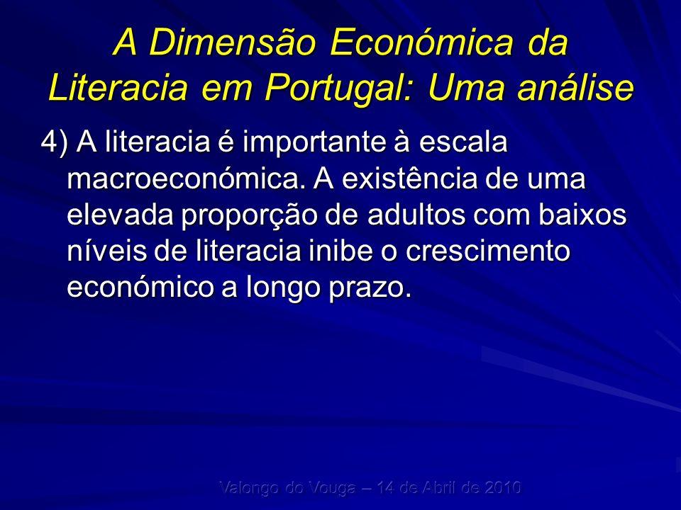 A Dimensão Económica da Literacia em Portugal: Uma análise 4) A literacia é importante à escala macroeconómica. A existência de uma elevada proporção