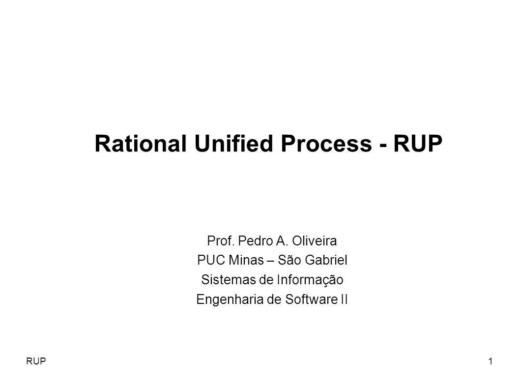 RUP1 Prof. Pedro A. Oliveira PUC Minas – São Gabriel Sistemas de Informação Engenharia de Software II Rational Unified Process - RUP