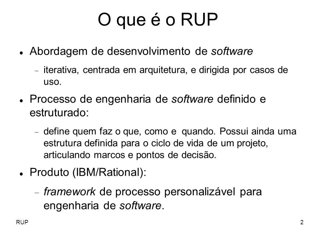 RUP2 O que é o RUP Abordagem de desenvolvimento de software iterativa, centrada em arquitetura, e dirigida por casos de uso. Processo de engenharia de