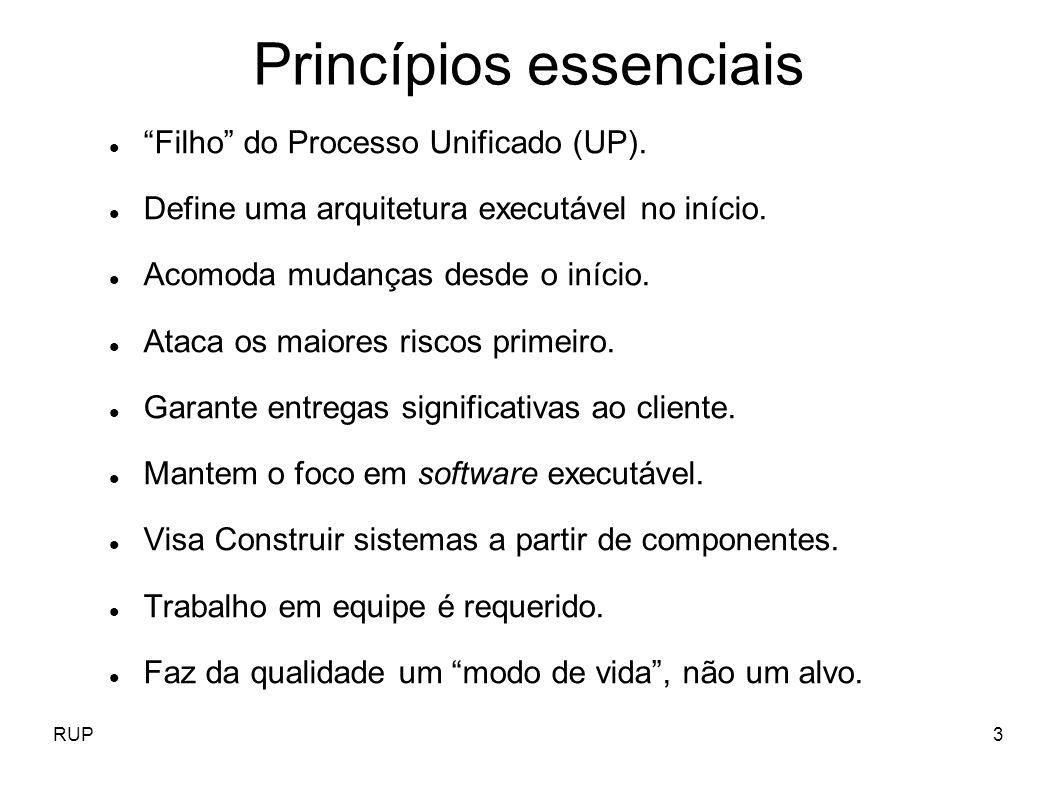 RUP64 Gerenciamento de projetos Principais papéis: Gerente de projetos Principais artefatos: Plano de desenvolvimento de projeto Plano de iterações Modelo de negócio Medidas do projeto