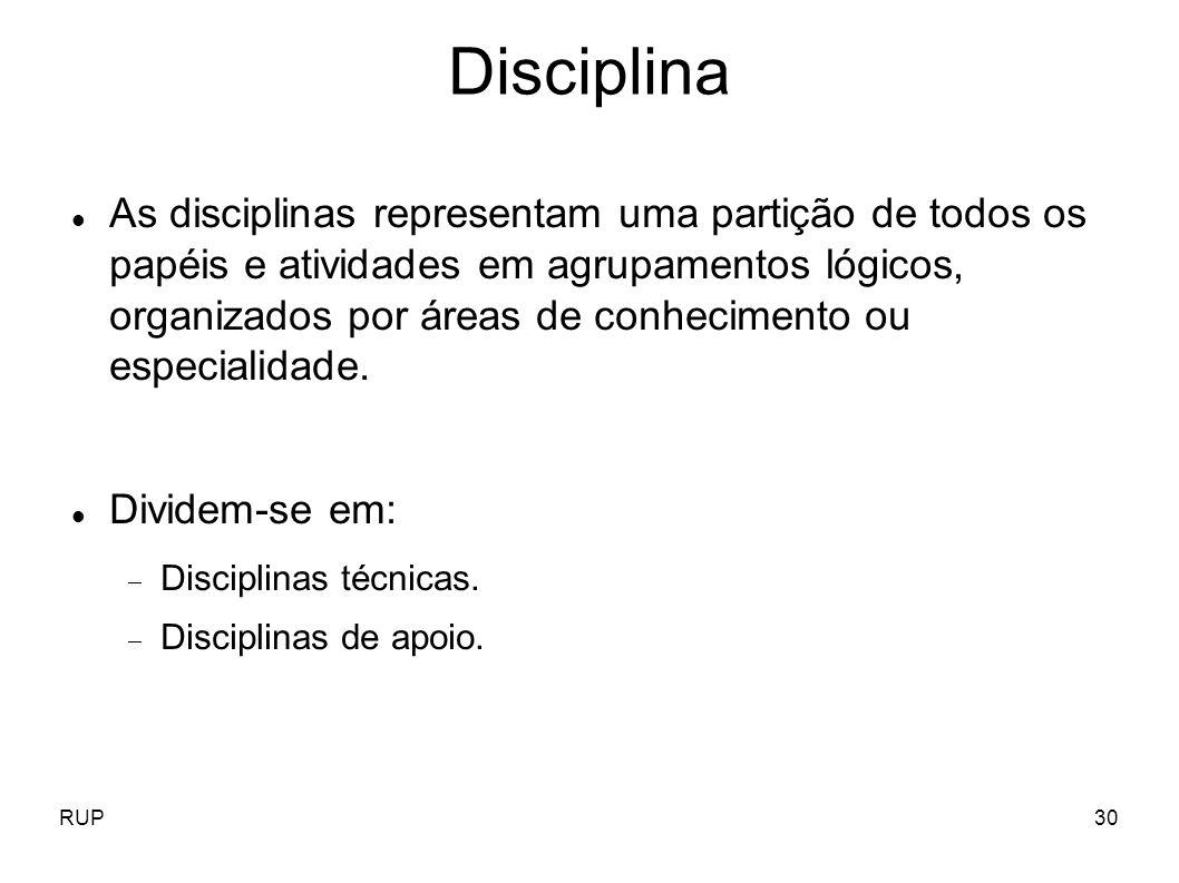 RUP30 Disciplina As disciplinas representam uma partição de todos os papéis e atividades em agrupamentos lógicos, organizados por áreas de conheciment