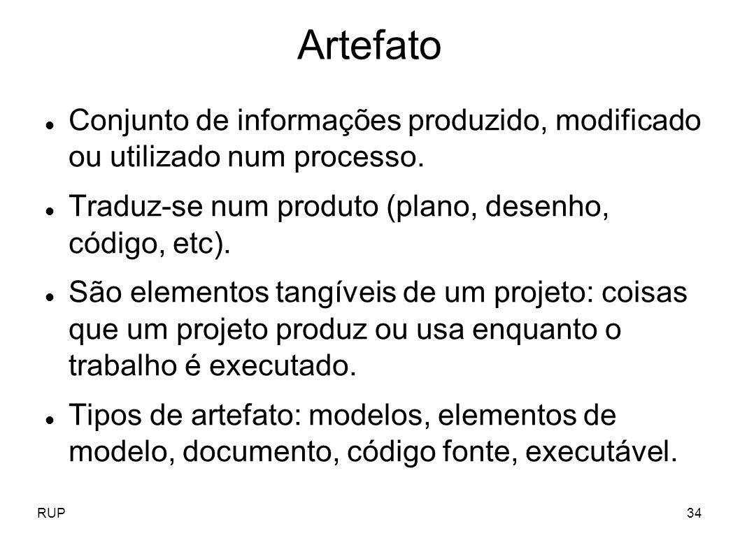 RUP34 Artefato Conjunto de informações produzido, modificado ou utilizado num processo. Traduz-se num produto (plano, desenho, código, etc). São eleme