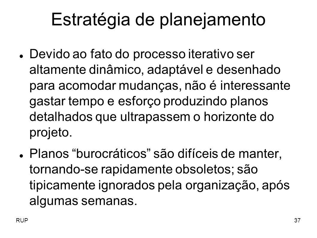 RUP37 Estratégia de planejamento Devido ao fato do processo iterativo ser altamente dinâmico, adaptável e desenhado para acomodar mudanças, não é inte