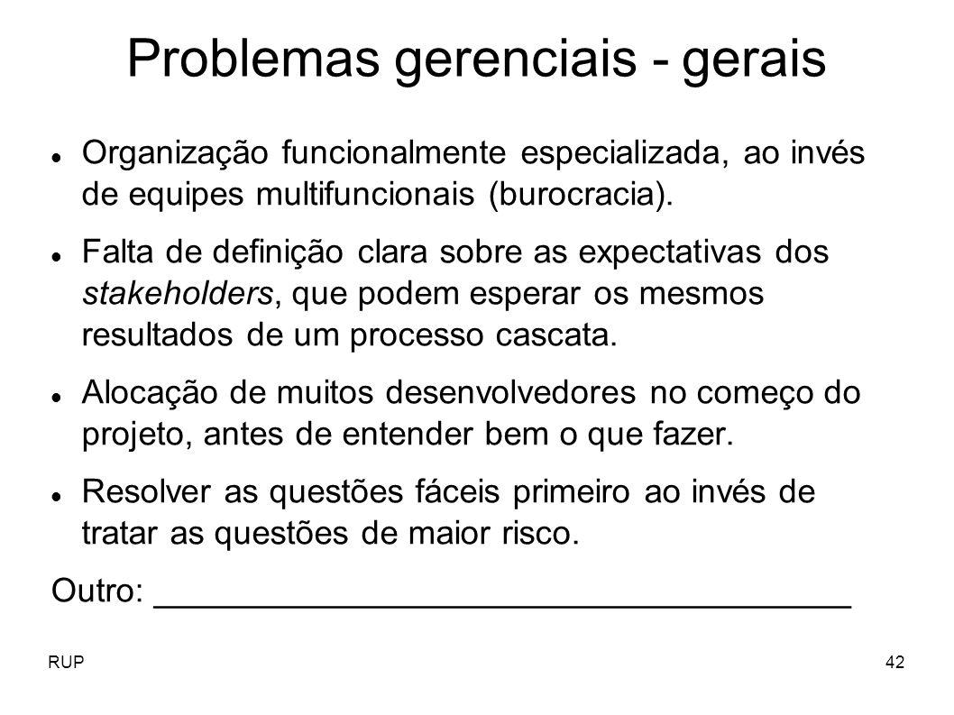 RUP42 Problemas gerenciais - gerais Organização funcionalmente especializada, ao invés de equipes multifuncionais (burocracia). Falta de definição cla