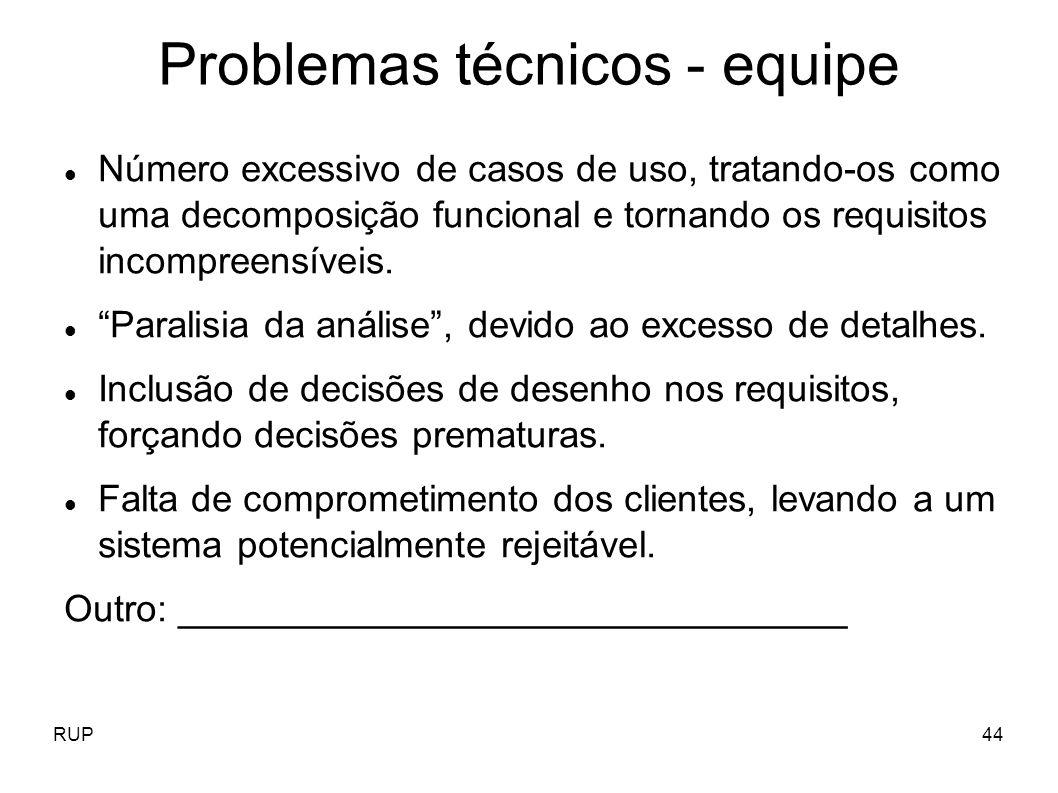 RUP44 Problemas técnicos - equipe Número excessivo de casos de uso, tratando-os como uma decomposição funcional e tornando os requisitos incompreensív