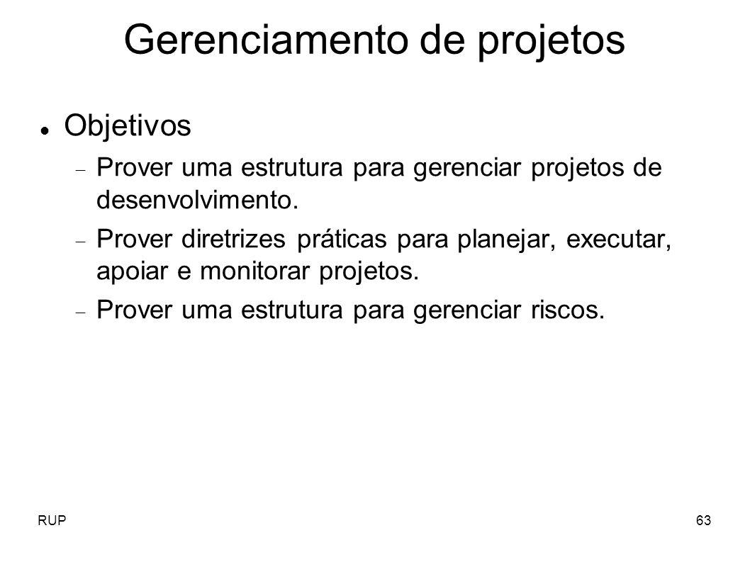 RUP63 Gerenciamento de projetos Objetivos Prover uma estrutura para gerenciar projetos de desenvolvimento. Prover diretrizes práticas para planejar, e