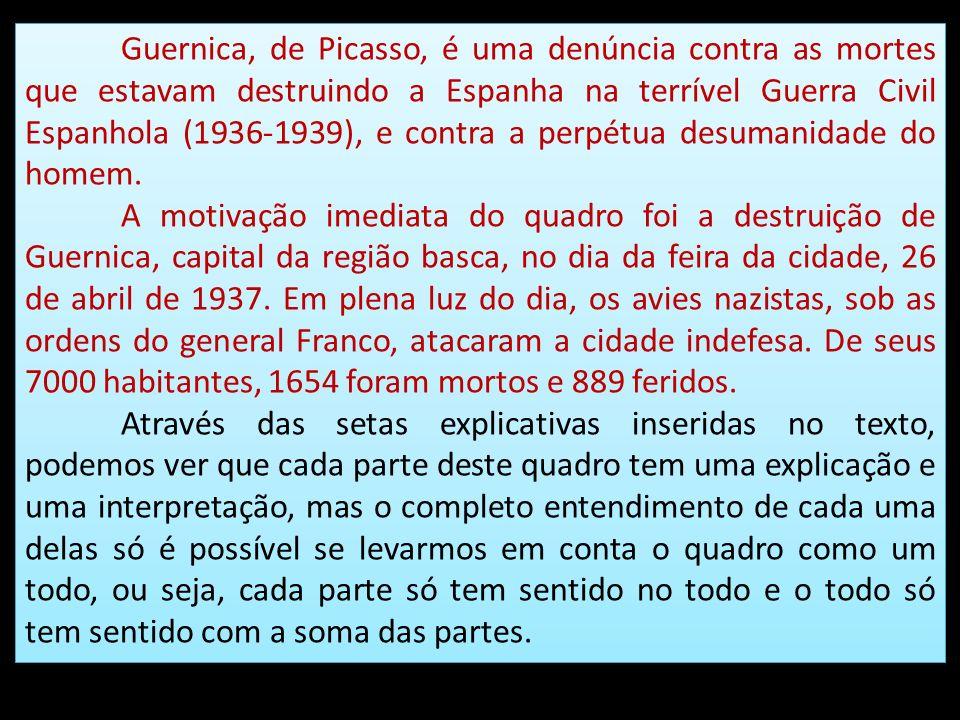Guernica, de Picasso, é uma denúncia contra as mortes que estavam destruindo a Espanha na terrível Guerra Civil Espanhola (1936-1939), e contra a perp