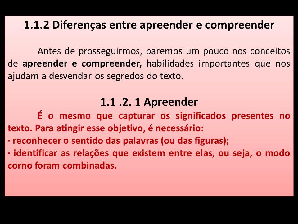 1.1.2 Diferenças entre apreender e compreender Antes de prosseguirmos, paremos um pouco nos conceitos de apreender e compreender, habilidades importan