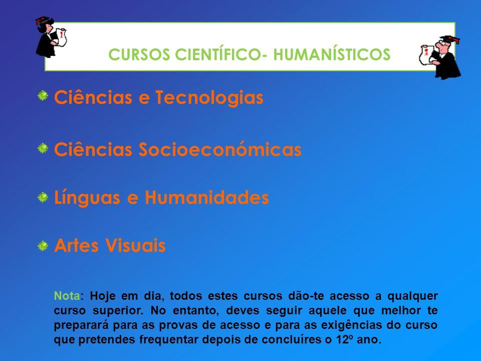 Ciências e Tecnologias Ciências Socioeconómicas Línguas e Humanidades Artes Visuais Nota: Hoje em dia, todos estes cursos dão-te acesso a qualquer cur