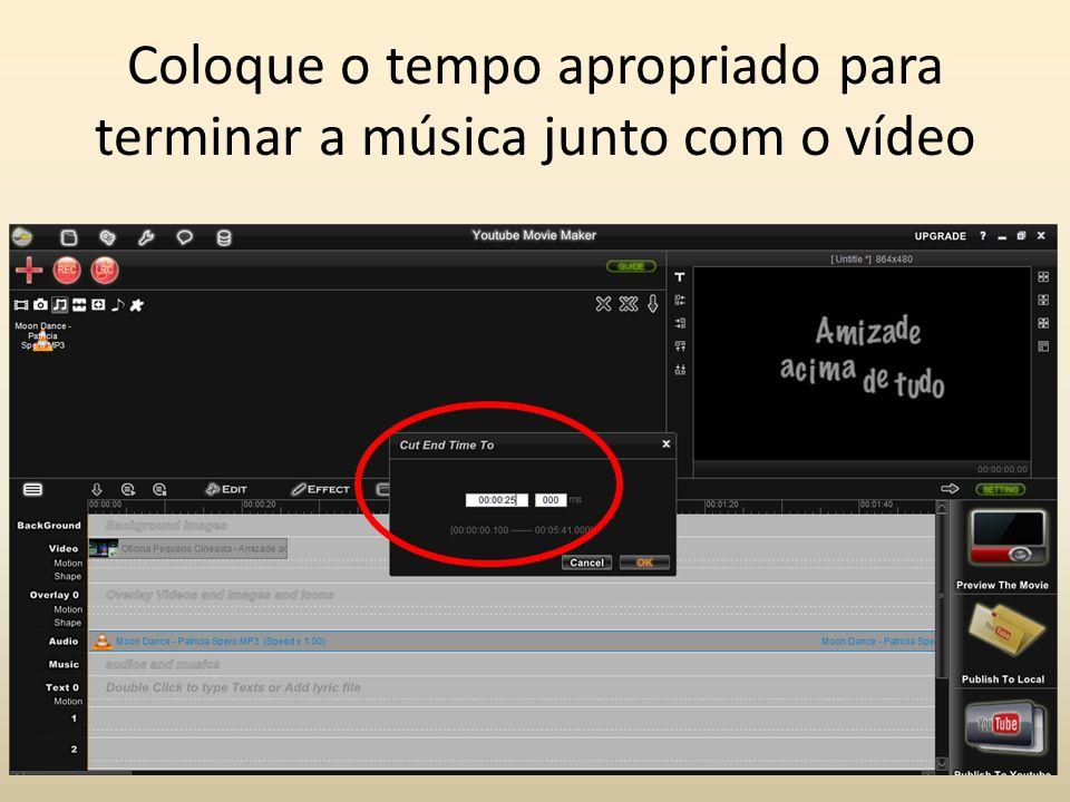 Tanto o volume do vídeo quanto o volume da música podem ser editados.