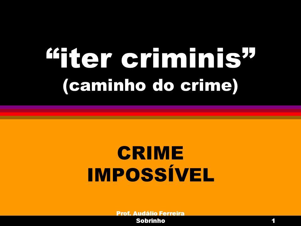 Prof. Audálio Ferreira Sobrinho1 iter criminis (caminho do crime) CRIME IMPOSSÍVEL