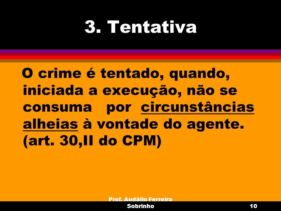 Prof. Audálio Ferreira Sobrinho10 3. Tentativa O crime é tentado, quando, iniciada a execução, não se consuma por circunstâncias alheias à vontade do