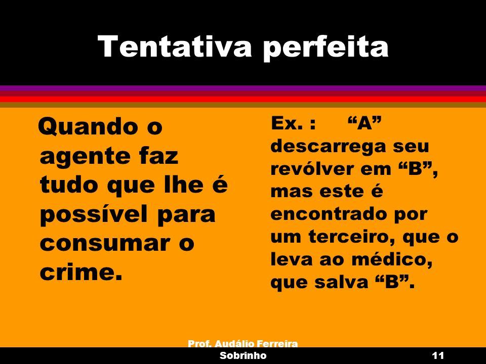 Prof. Audálio Ferreira Sobrinho11 Tentativa perfeita Quando o agente faz tudo que lhe é possível para consumar o crime. Ex. : A descarrega seu revólve