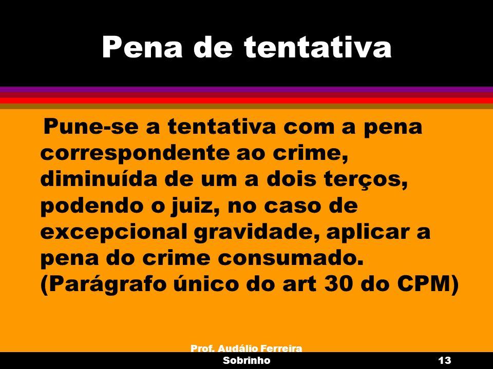 Prof. Audálio Ferreira Sobrinho13 Pena de tentativa Pune-se a tentativa com a pena correspondente ao crime, diminuída de um a dois terços, podendo o j