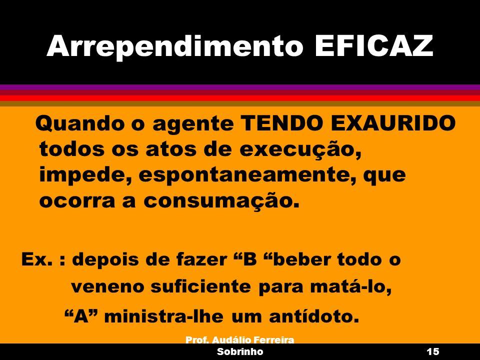 Prof. Audálio Ferreira Sobrinho15 Arrependimento EFICAZ Quando o agente TENDO EXAURIDO todos os atos de execução, impede, espontaneamente, que ocorra