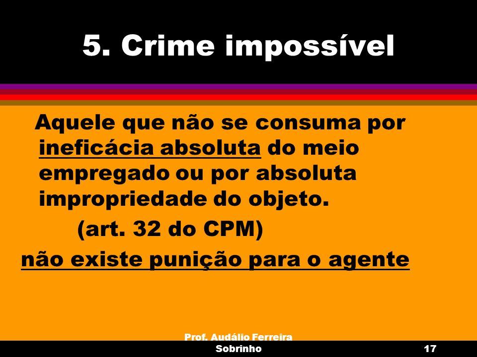 Prof. Audálio Ferreira Sobrinho17 5. Crime impossível Aquele que não se consuma por ineficácia absoluta do meio empregado ou por absoluta impropriedad