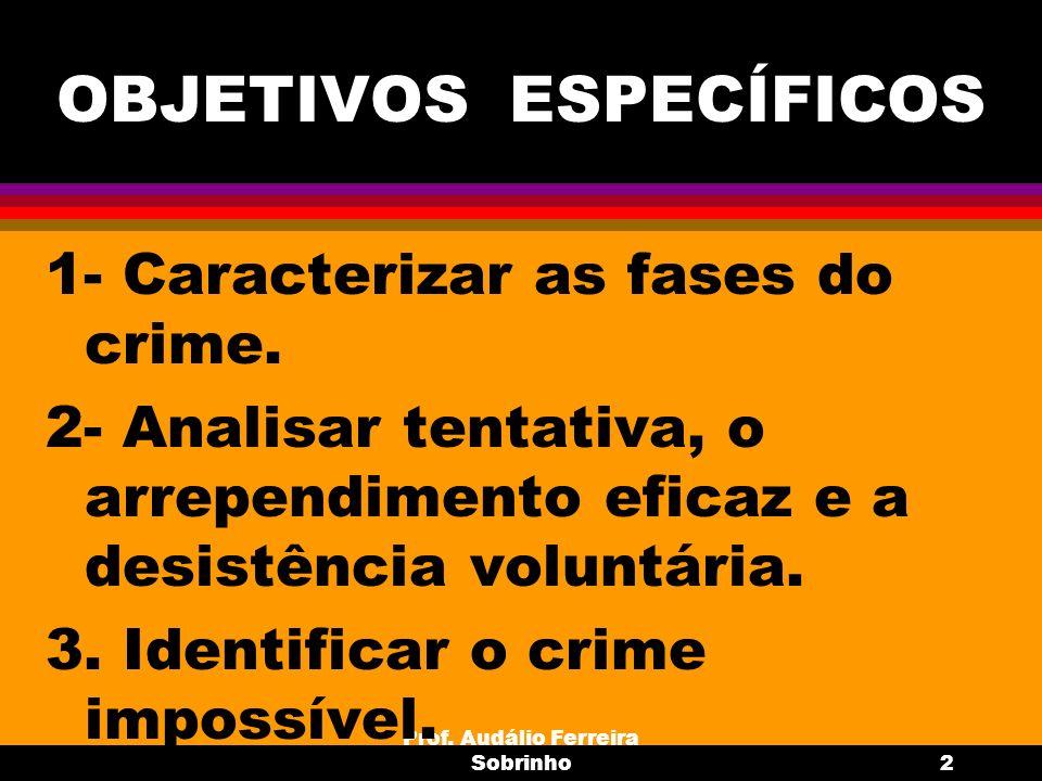 Prof. Audálio Ferreira Sobrinho2 OBJETIVOS ESPECÍFICOS 1- Caracterizar as fases do crime. 2- Analisar tentativa, o arrependimento eficaz e a desistênc