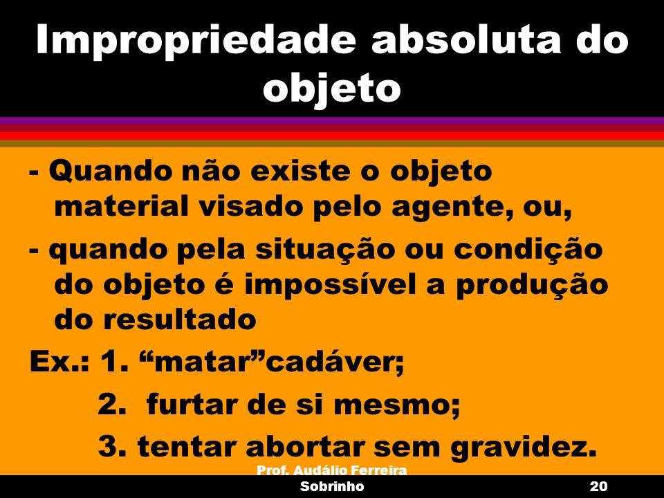 Prof. Audálio Ferreira Sobrinho20 Impropriedade absoluta do objeto - Quando não existe o objeto material visado pelo agente, ou, - quando pela situaçã
