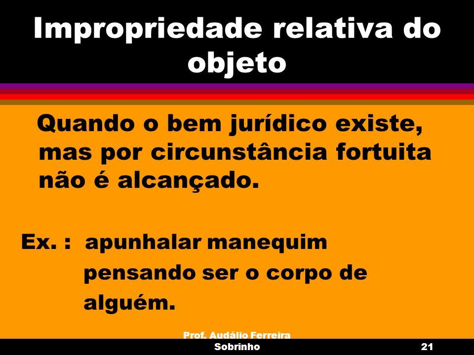 Prof. Audálio Ferreira Sobrinho21 Impropriedade relativa do objeto Quando o bem jurídico existe, mas por circunstância fortuita não é alcançado. Ex. :