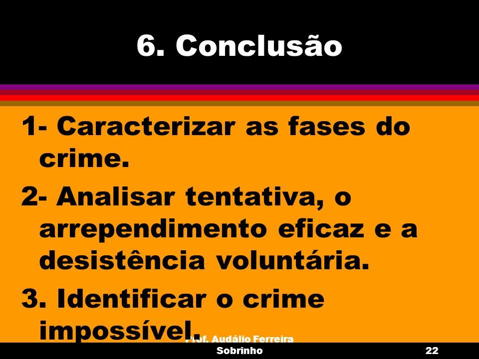 Prof. Audálio Ferreira Sobrinho22 6. Conclusão 1- Caracterizar as fases do crime. 2- Analisar tentativa, o arrependimento eficaz e a desistência volun