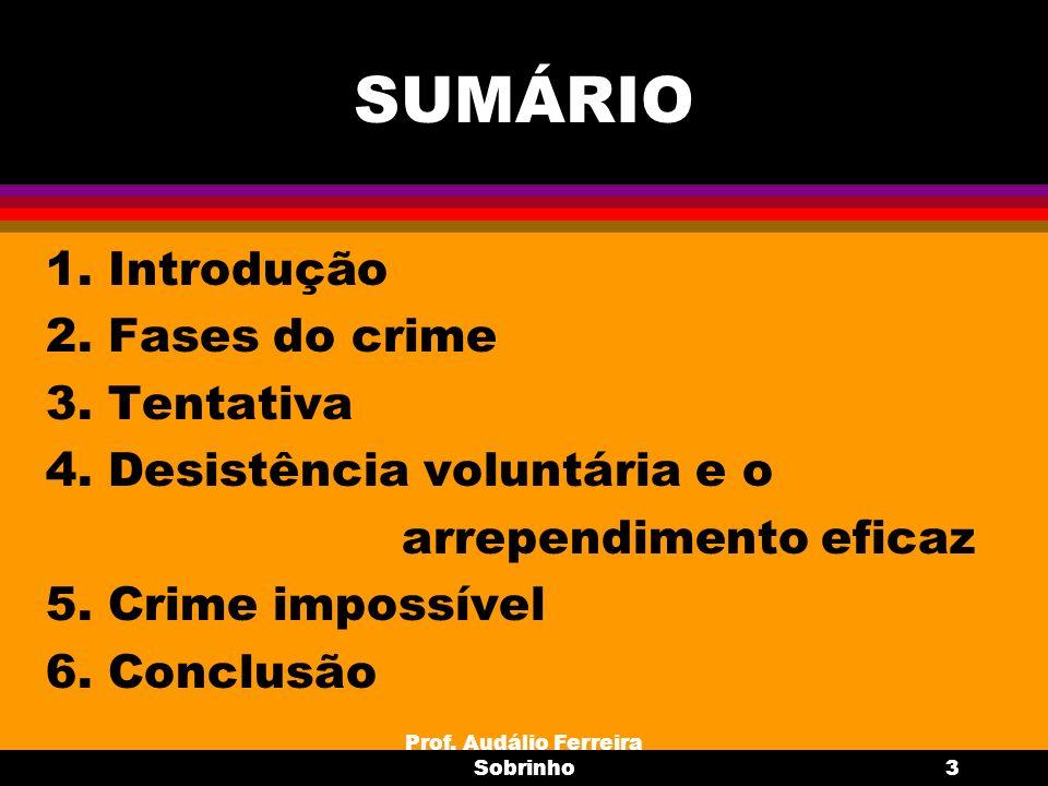 Prof. Audálio Ferreira Sobrinho3 SUMÁRIO 1. Introdução 2. Fases do crime 3. Tentativa 4. Desistência voluntária e o arrependimento eficaz 5. Crime imp