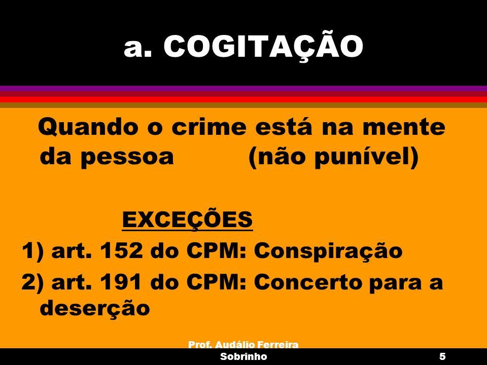 Prof. Audálio Ferreira Sobrinho5 a. COGITAÇÃO Quando o crime está na mente da pessoa (não punível) EXCEÇÕES 1) art. 152 do CPM: Conspiração 2) art. 19