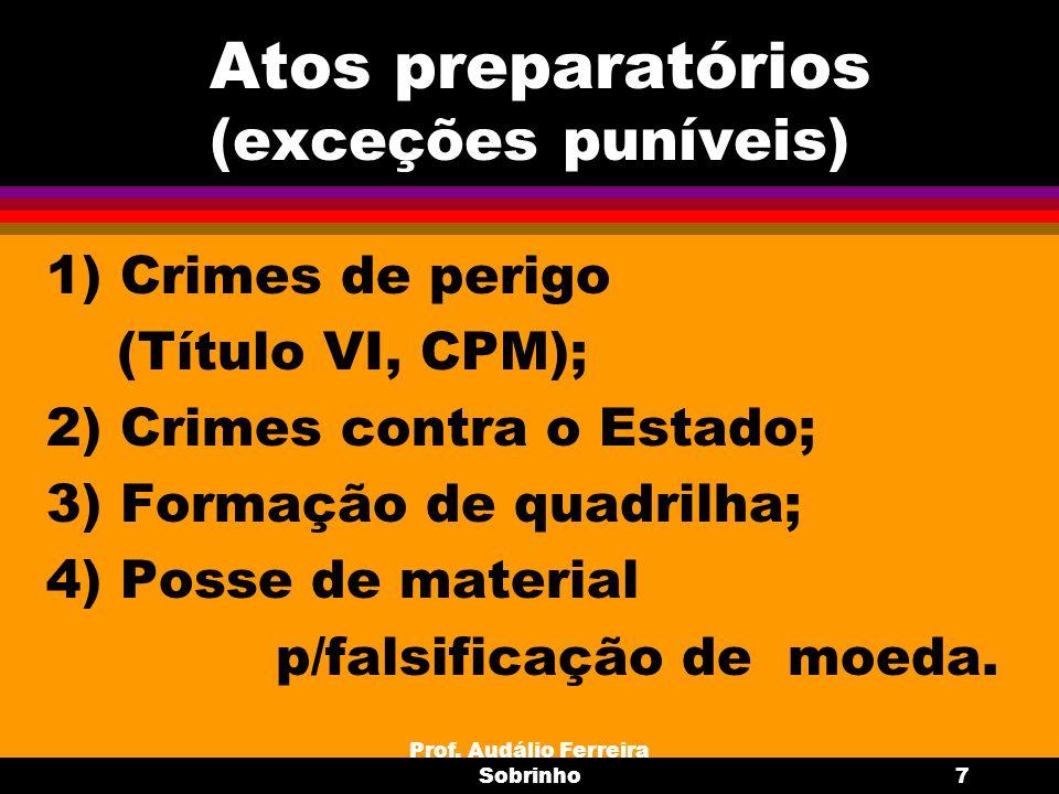 Prof. Audálio Ferreira Sobrinho7 Atos preparatórios (exceções puníveis) 1) Crimes de perigo (Título VI, CPM); 2) Crimes contra o Estado; 3) Formação d